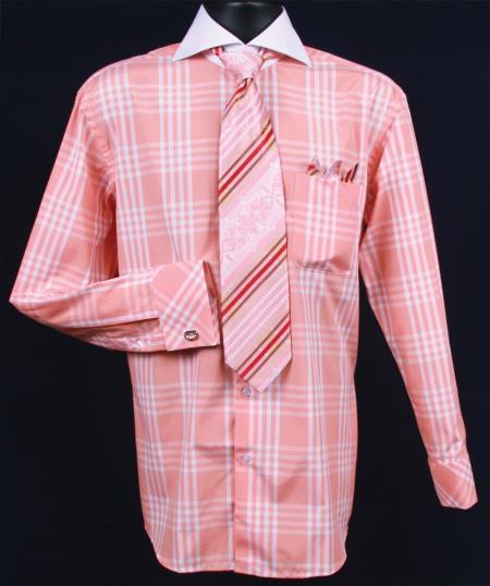 SKU#DQ382 Mens French Cuff Dress Shirt Set Deep Checker Coral ~ Peach Plaid ~ Windowpane