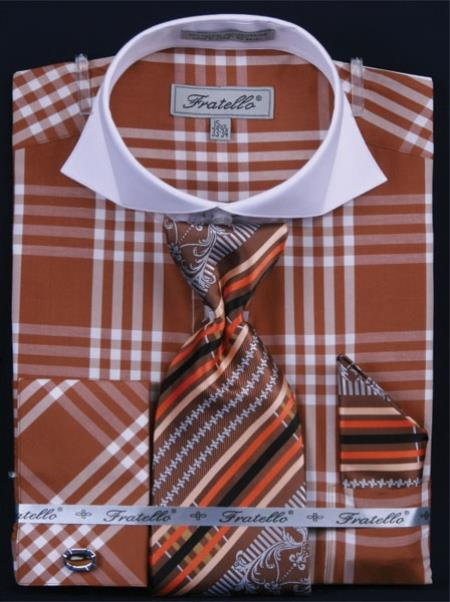 SKU#VQ458 Mens French Cuff Dress Shirt Set  Deep Checker Brown $65
