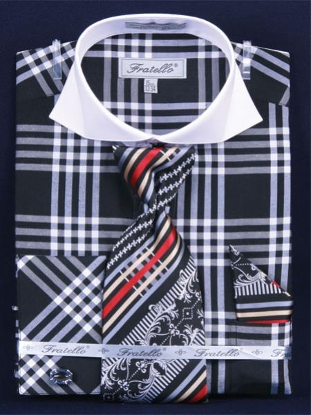 SKU#EV291 Mens French Cuff Dress Shirt Set  Deep Checker Black $65