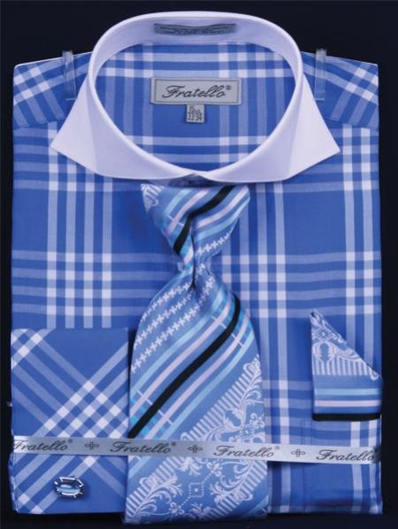 SKU#KZ289 Mens French Cuff Dress Shirt Set Plaid ~ Windowpane Deep Checker Royal