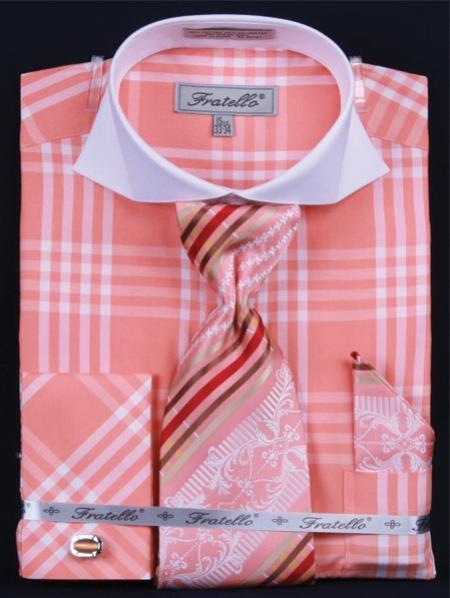 SKU#TK372 Mens French Cuff Dress Shirt Set Deep Checker Coral ~ Peach Plaid ~ Windowpane
