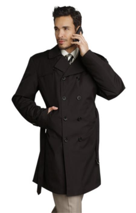 SKU#BT2834 Mens Stylish Black Rain Double Breasted Rain Coat ~ Trench Coat