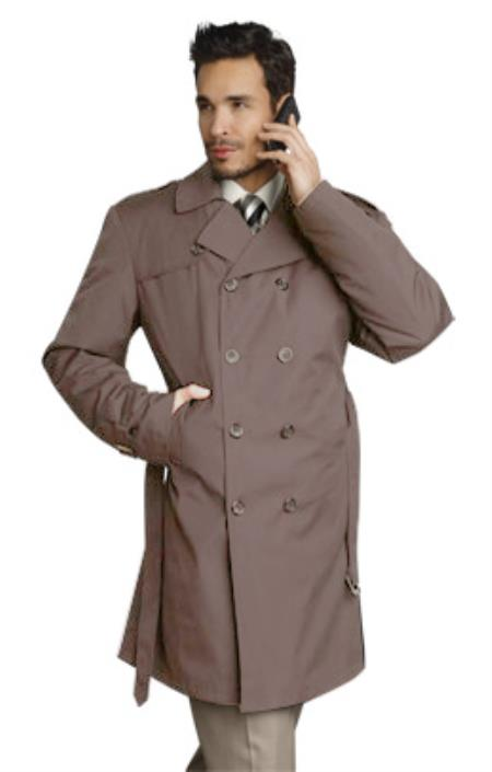 SKU#KQ2579 Mens Stylish Tan ~ Beige Rain Double Breasted Rain Coat ~ Trench Coat