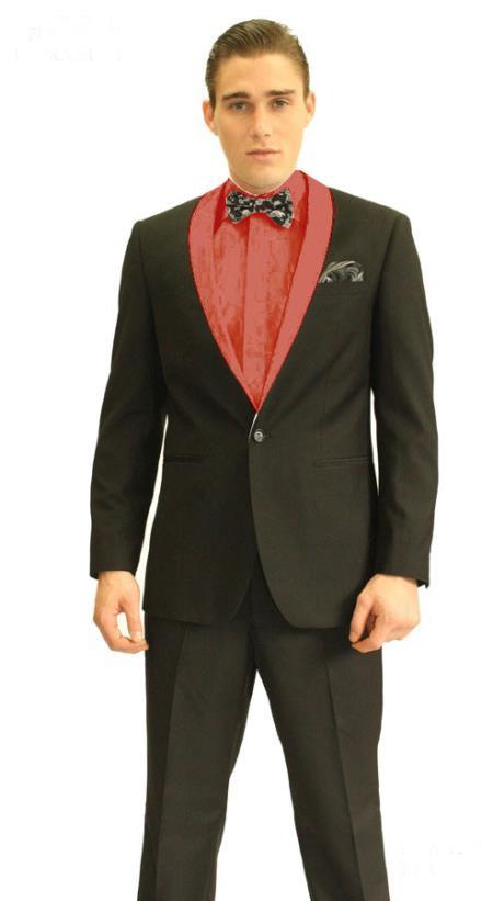 SKU#YR2845 Mens 3inch Red Shawl Tuxedo $595