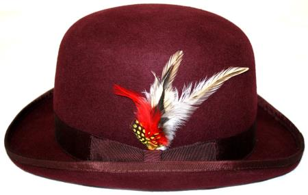 SKU#QT6001 Mens bowler derby style ~ Bowler Hat Burgundy ~ Maroon ~ Wine Color $49