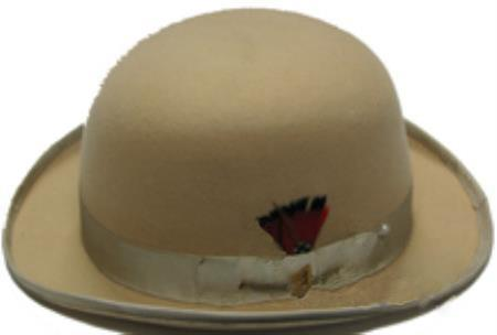 bowler derby style ~ Bowler Tan ~ Beige Mens 100% Wool Stylish Hat
