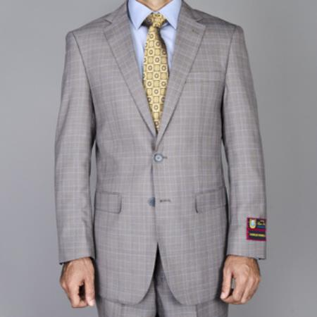 SKU#RG6210 Mens Taupe Windowpane 2 Button Suit $165