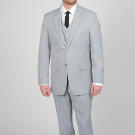 SKU#FP673 Mens Silver Two Button Vested Suit
