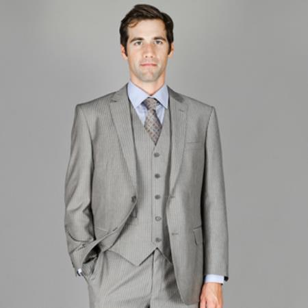 SKU#FQ276 Mens light gray Stripe ~ Pinstripe Wool and Silk Blend Vested Suit