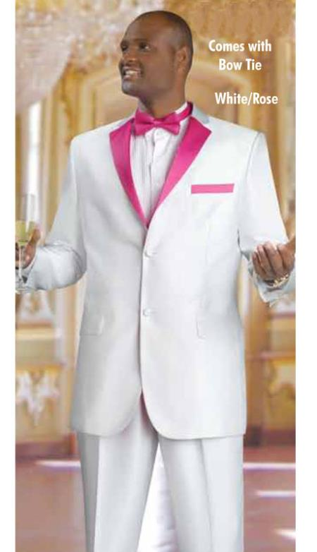 SKU#RL2389 Mens 2 Piece 2 Button Tuxedo Suit White With rose pink fuchsia ~ hot Pink