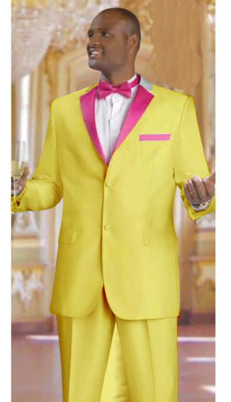 SKU#EV3824 Mens 2 Piece 2 Button Tuxedo Suit Gold With rose pink fuchsia $595