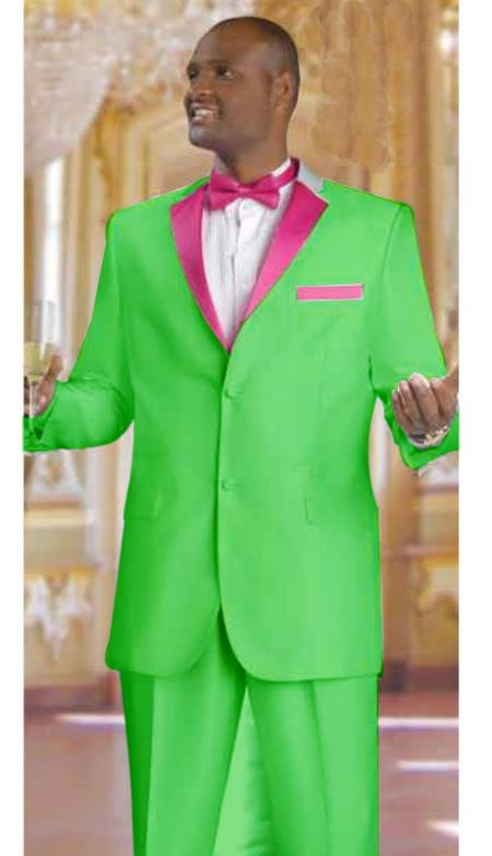 SKU#DT2853 Mens 2 Piece 2 Button Tuxedo Suit Apple Green With rose pink fuchsia $595
