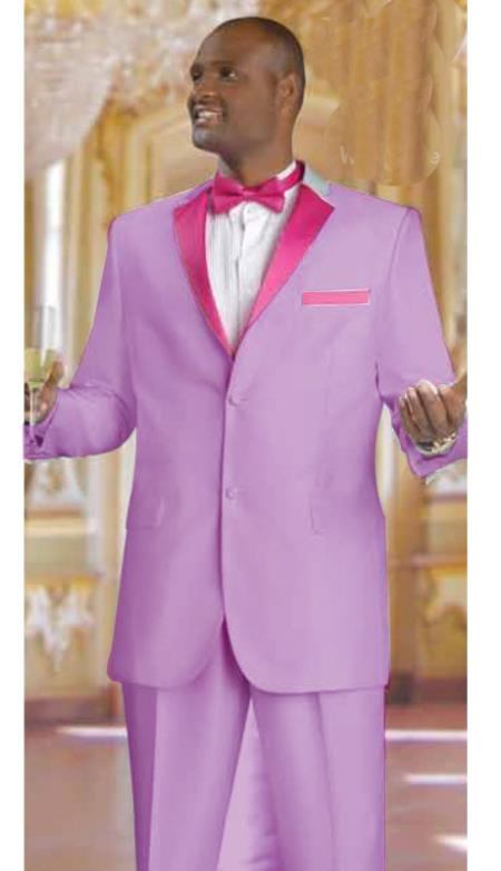 SKU#NT2739 Mens 2 Piece 2 Button Tuxedo Suit Lavender With rose pink fuchsia $595