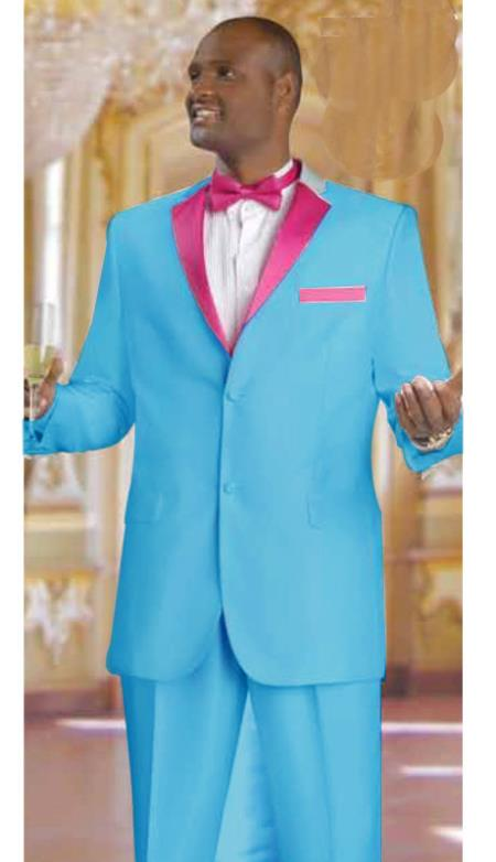 SKU#RN2749 Mens 2 Piece 2 Button Tuxedo Suit Sky Blue With rose pink fuchsia $595