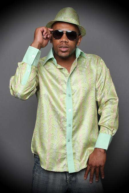 SKU#DQ39 Mint Fancy Woven Shirt With Solid Cotton Trim Shiny Silky Satin Plus Matching Hat $89