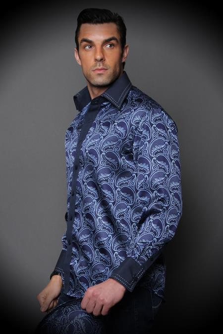 SKU#JF27 Navy Fancy Woven Shirt With Solid Cotton Trim Shiny Silky Satin Plus Matching Hat $89