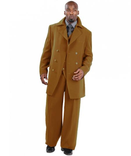MensUSA.com Suit Three Piece Vested With Peacoat Jacket with Wide Leg Pants Tan(Exchange only policy) at Sears.com