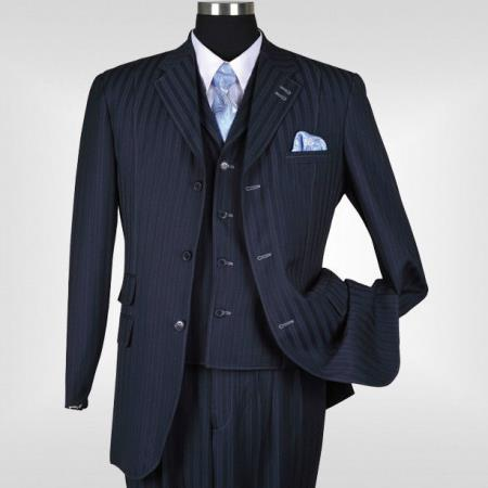 MensUSA.com New Men's 3 piece Elegant and Classic Stripes Suit Navy(Exchange only policy) at Sears.com