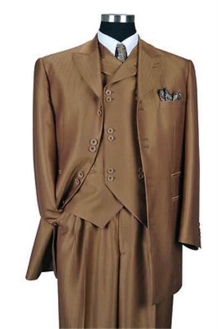 "SKU#G293A Mens 3 Piece Brown Luxurious Wool Feel Herring Bone Stripe 35"" Jacket $149"