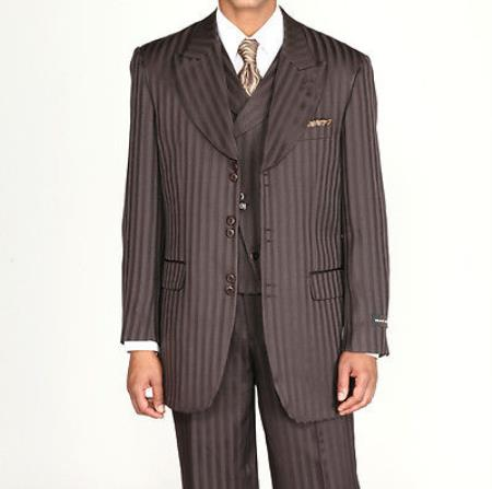 SKU#VK527 Mens 3 piece Fashion Tone on Tone Stripe ~ Pinstripe Suits w/Vest Brown