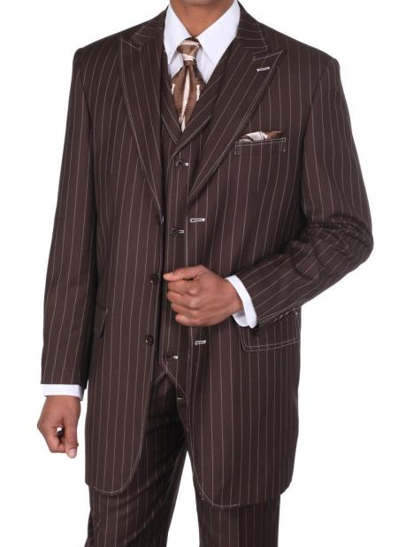 SKU#T9783 Mens Boss Classic Pinstripe Suits w/Vest Brown with White Stitching