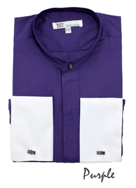 SKU#CP4724 Mens Fashion Hidden Button French Cuff Mandarin Collarless Dress Shirt Purple $65