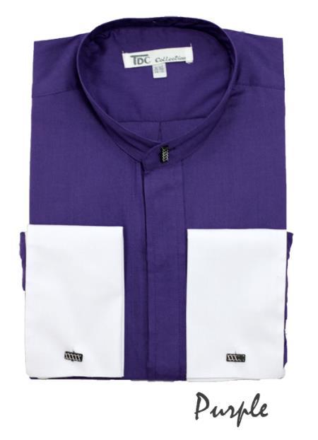 SKU#CP4724 Mens Fashion Hidden Button French Cuff Mandarin Collarless Dress Shirt Purple