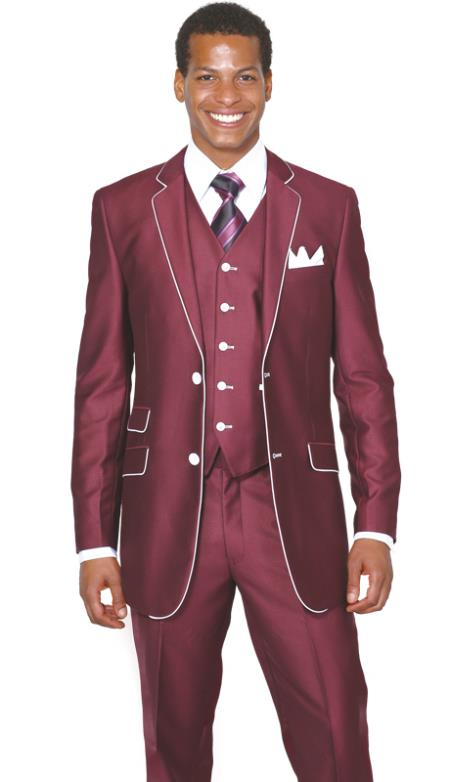 SKU#RA2783 Mens 2 Button 3 Piece Single Breasted Church Suit Burgundy ~ Maroon ~ Wine Color $175