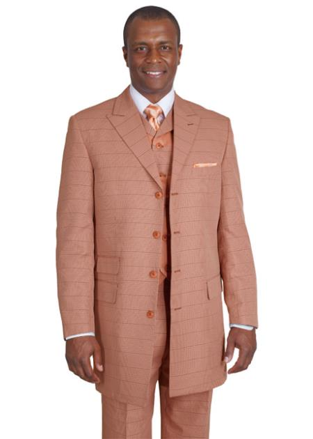 MensUSA.com Mens 3 Piece 4 Button 35 Inch Length Suit Rust(Exchange only policy) at Sears.com