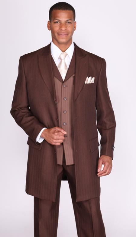 MensUSA.com Mens 3 Piece 4 Button 36 Inch Length Jacket with Arowhead Lapels Brown(Exchange only policy) at Sears.com