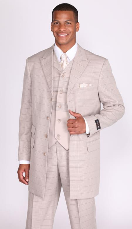 MensUSA.com Mens 4 Button 3 Piece 35 Inch Length Church Suit Taupe(Exchange only policy) at Sears.com