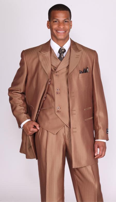 SKU#KP38 Mens 3 Piece 3 Button Stripe ~ Pinstripe Suit with Lapel Vest Brown
