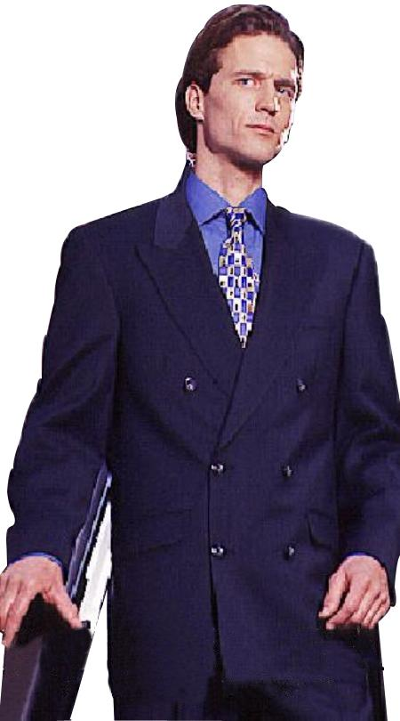 SKU#WTXDB1 High Quality Double Back Vent Double Breasted Worsted Virgin Wool Dark Navy Blue Suit