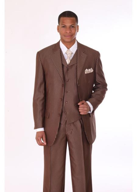 SKU#TK27 Mens 3 Piece 3 Button Stripe Suit with Lapel Vest Brown With Stripe $149