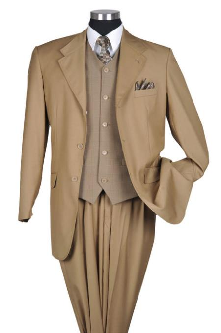 SKU#TK6832 Tan Fancy Stitch Plaid Vested Urban Men Suits $149