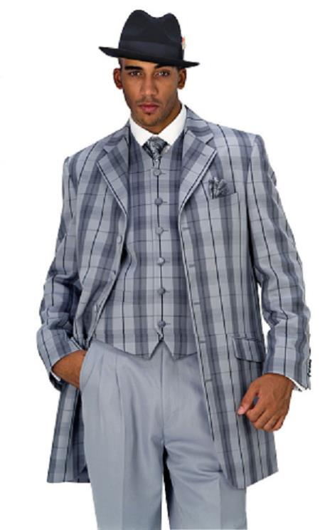SKU#NA7923 Grey Plaid Vested Urban Men Suits $149