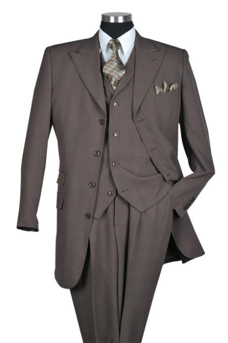SKU#CR9673 Brown Glen Plaid Vested Urban Men Suits $149