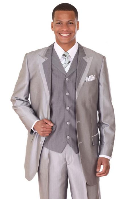 SKU#VQ7387 Mens Silver Vested Sharkskin Fashion Suit: discount mens clothes for sale $139