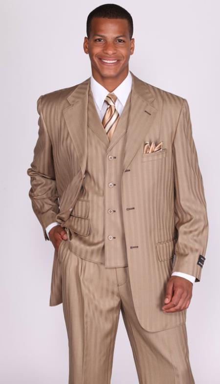 Sku Vh0354 Mens Tan Beige Stripe Pinstripe Lapel Vested