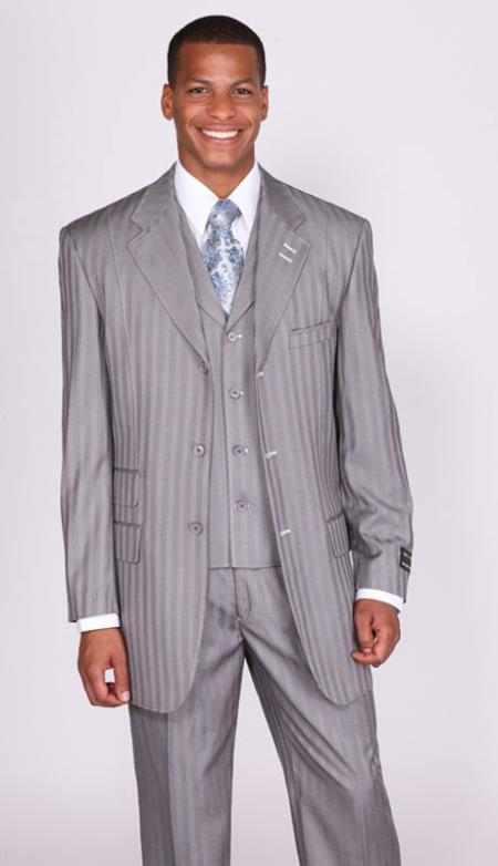 SKU#GP0678 Mens light gray Stripe ~ Pinstripe Lapel Vested Church Suits: discount mens clothes for sale