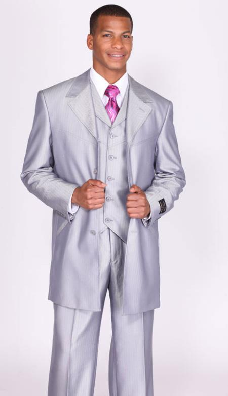 SKU#FR7903 Mens Shiny Silver Sharkskin Vested Church Suits: discount mens clothes for sale $139