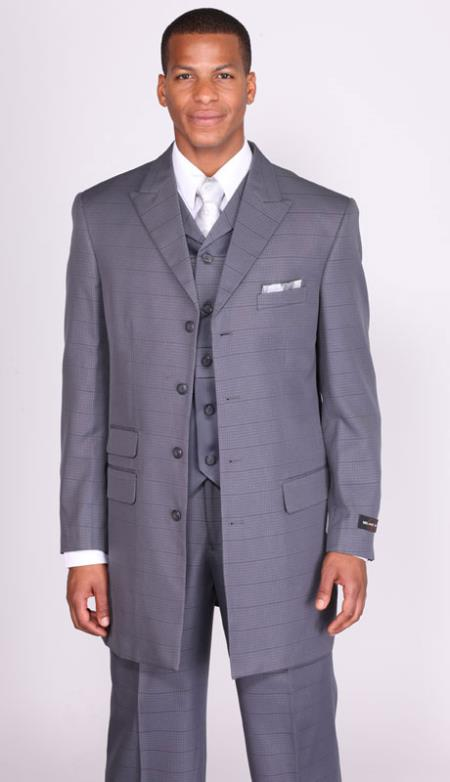 SKU#KR8342 Mens Charcoal Basket Weave Vested Church Suit: discount mens clothes for sale