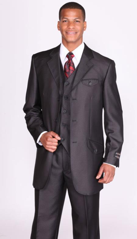 Sku Ta4623 Mens Black Diamond Pattern 3 Piece Church Suits