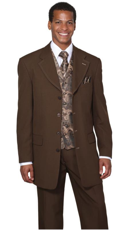 SKU#CR0845 Mens Brown Fancy Vest 3 Piece Fashion Suits: discount mens clothes for sale $89