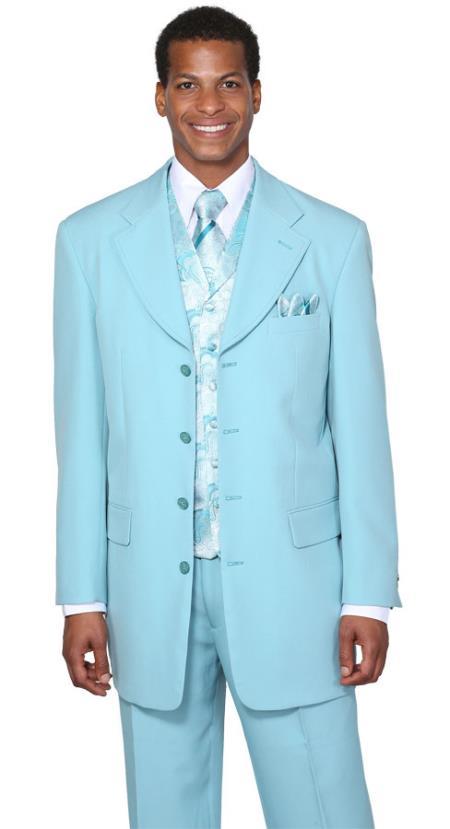 MensUSA.com Mens Aqua Fancy Vest 3 Piece Fashion Suits(Exchange only policy) at Sears.com