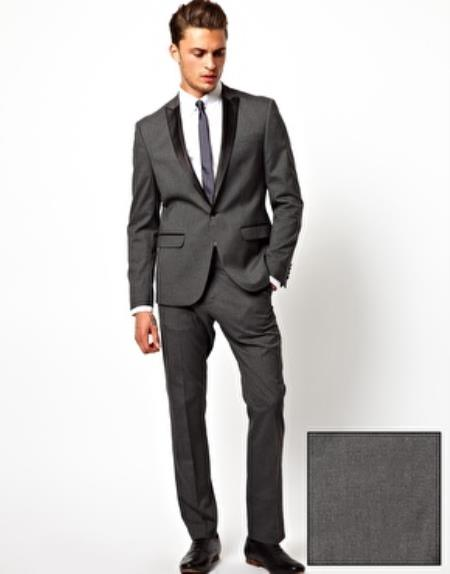 SKU#N-73Q Mens Slim Fit Tuxedo Suit Jacket Charcoal $395