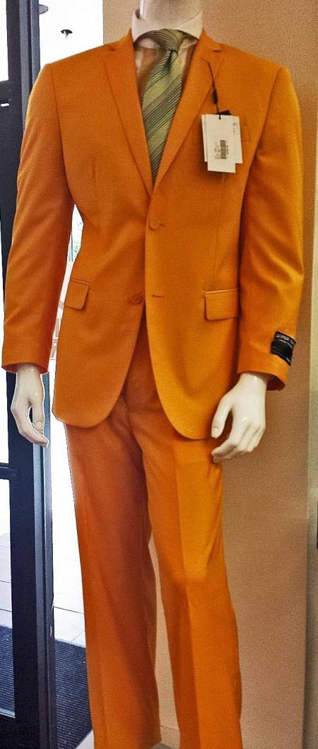 SKU#E-702 Mens Italian Design Mango Orange Stage Party Slim Fit Suit $175