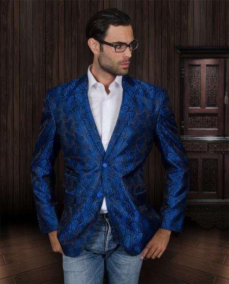MensUSA.com Sequin Shiny Flashy Silky Paisley Blazer Shiny Stage Sport Coat Jacket/Blazer Royal Blue(Exchange only policy) at Sears.com