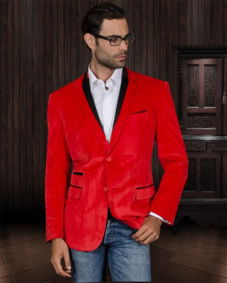 MensUSA.com Velvet Velour Blazer Formal Tuxedo Jacket Sport Coat Two Tone Trimming Red(Exchange only policy) at Sears.com