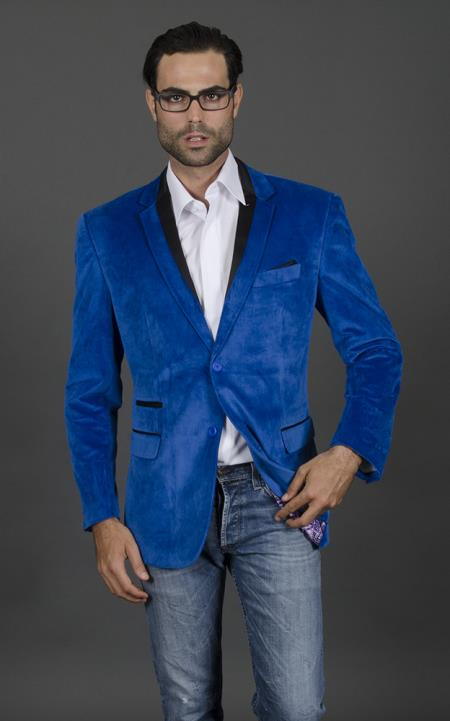 MensUSA.com Velvet Velour Blazer Formal Tuxedo Jacket Sport Coat Two Tone Trimming Royal Blue(Exchange only policy) at Sears.com
